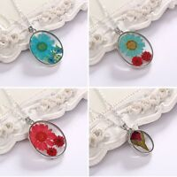 Handmade Real Natural Dried Flower Round Glass Drop Chain Pendant Necklace Gift