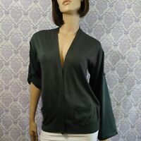 Ann Taylor Gray Womens Cardigan Size Medium Knit With Silky Sleeves And Back