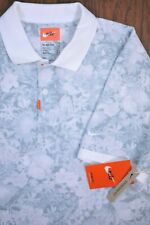 NWT Nike Dri-Fit 'The Nike Polo' Floral Golf Polo Shirt Gray White Men's Large L