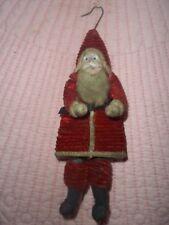 Antique Cotton Spun Santa Belsnickel Holding Toy Bag on Back Tree Ornament