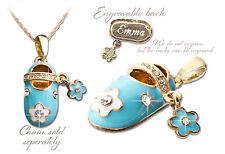 Gold Plated Blue Baby Shoe Pendant  002-g