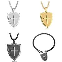 Punk Men Stainless Steel Shield Armor Cross God Ephesians Pendant Necklace 24''