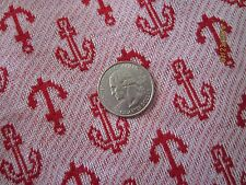 Red Anchor on White double knit fabric  60 inches wide