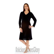 Ladies/Womens Long Sleeve Nightie/Nightdress Black/Grey Size 10 12 14 16 18 20