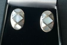 MOTHER OF PEARL STUD EARRINGS 925 STERLING SILVER