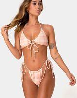 MOTEL ROCKS Shell Leyna Bikini Set in Picnic Check Peach Small S  (mr20)