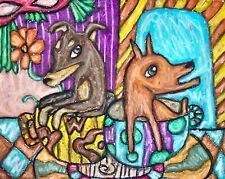Miniature Pinscher Coffee Time Art Print 8x10 Signed by Ksams Dog Collectible