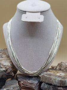 "Southwestern Liquid Sterling Silver 20 Strand Necklace 24"" Navajo Native Tribal"