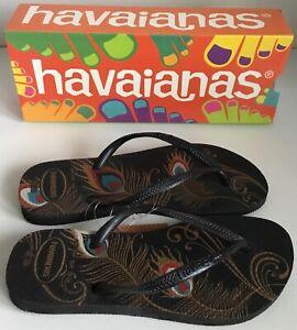 HAVAIANAS SLIM PEACOCK GIRLS FLIP FLOPS- BLACK SIZE UK 1-2 - BRAND NEW