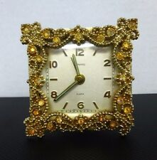 Vintage Dunhill Jeweled Alarm Clock, Working, Gold and Brass, West Germany