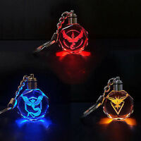 Pokemon Go Logo Team Valor/Instinct/Mystic Cosplay LED Keychain Pendant New Zsq3