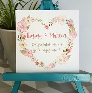 PERSONALISED Handmade Engagement Floral Heart Wreath Watercolour Print Card