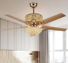 "New Listing52"" Stainless Steel Blades Ceiling Fan Antique Crystal Led Light Fan Chandelier"