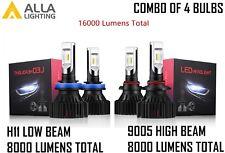 Alla Lighting 4x Combo H11 9005 HB3 LED Headlight Bulb High Low Beam Kit White