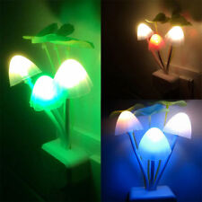 Romantic Sensor LED Flower Mushroom Night Light Bed Room Lamp Home Decor US Plug
