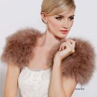 Real Ostrich Feather Bolero Velvet Shrugs For Weddings Furry Fur Wraps Bridal
