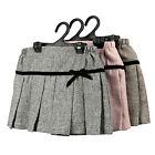 NEW Girls Cotton Skirt short Pleated Skirt Sz 2-8Yr Brown-Grey-Pink