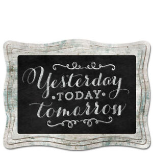 Scallop Framed Chalkboard Sign Wall Plaque YESTERDAY TODAY TOMORROW Braided Cord
