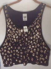 Victorias Secret PINK Black Tank Top Oversize Gold Sequined Front S NWT