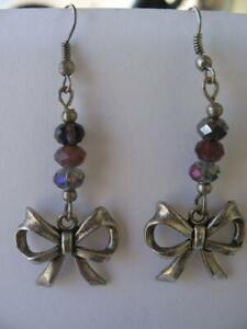 """Silver Bow Earrings Ribbon Pierced Earrings Purple Glass Faceted Dangles 2-1/4"""""""
