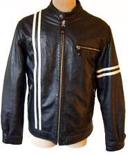 Racing stripe leather jacket black white biker motorcycle vintage retro M silver