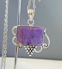 Sterling Silver Overlaid Charoite Pendant with chain