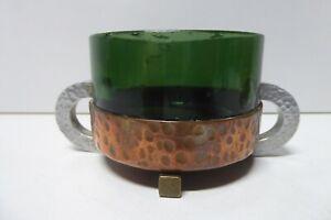 ANTIQUE ARTS & CRAFTS GREEN GLASS PEWTER AND COPPER BOWL ART NOUVEAU