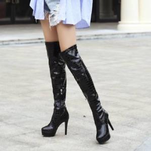 Womens New Snakeskin Pattern Mid Calf Boots Platform Shoes Fur Lined Side Zipper