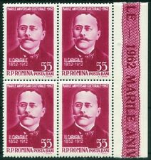 Romania 1962 I.L.Caragiale Romanian playwright ,block of 4 stamps,sheet edge,MNH