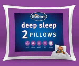 Silentnight Deep Sleep Pillows Two 2 Pack Soft Medium Bed Support Sleep Easy