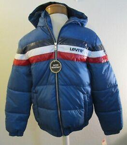 NWT Levis Youth Boys Rocket Puffer Jacket XL Blue Stripe MSRP$85