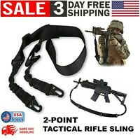 2 Point Tactical Rifle Sling Quick Adjust Gun Shoulder Strap Cord Easy Release