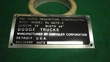Dodge WWII WC Cargo Body data plate Aluminum (P79)