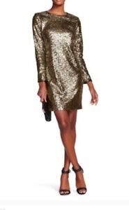 MAIA NEW sz 8 Gold & Silver Sequin SHEATH Dress zippered back cocktail length