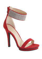 New Rhinestone Ankle Strap Cuff Open Toe Stiletto High Heel Platform Sandal Pump