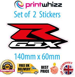 2 x GSXR Suzuki Motorcycle Stickers Decals Quality Printed Vinyl Label