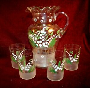 Collectible EAPG 5 Pc. Water Set - Pattern & Maker Unknown to Me