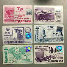 Lot of 6x Vintage Ukraine Kiev 2001 Monthly Pass Bus Students