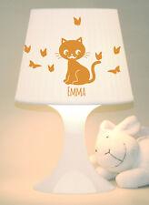 """Kinderlampe Schlummerlampe """"Katze mit Schmetterlingen"""" Name personalisierbar"""