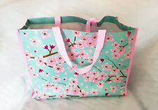 Large shopping Tote bag green/pink metallic oriental style blossom design-NEW