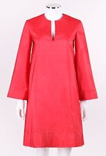 Vtg Halston c.1970's Fuschia Pink 100% Silk Long Bell Sleeve Tunic Dress Size 6
