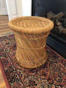 Vtg Table Plant Stand Ottoman Stool Cane Rattan Wicker Woven Boho Mid Century