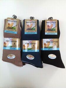 Men's 100% Pure Cotton Socks 6 PAIRS SIZE 6-11