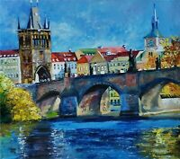 YARY DLUHOS ORIGINAL OIL PAINTING Prague Charles Bridge Vltava River Europe City