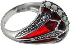 Anello con Rosso Smalto Opal & MARCASITE Argento 925 marchiato dall' onorevole ARI D. NORMAN