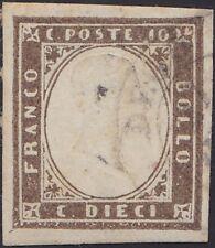 1855-1861 ITALIE Sardaigne N°11b Brun-Gris (conf. Scheller) Cote 450€, Sardinia
