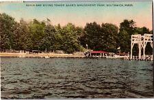 Dive Tower, Bathing Beach Babb's Congamond Lake Southwick MA c1941 Postcard T21