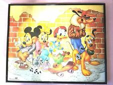 Vintage Walt Disney Mickey Mouse and Friends Poster Print Framed 16x20