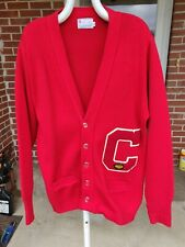 Vtg Red 44 High School Sweater Varsity Letterman C 100% Orlon Acrylic East-Tenn