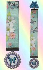 BUTTERFLY Ribbon Pendant Bookmark Book Mark Blue Butterflies Cute Pretty Wing
